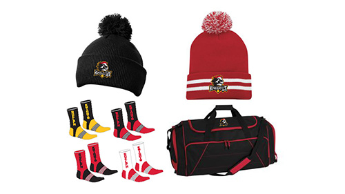 touques, socks, tote bag